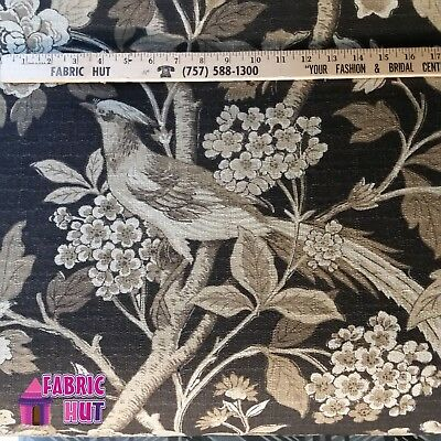 Home Decor Coventry Linen Floral Birds Heavy Upholstery Fabric by the Yard