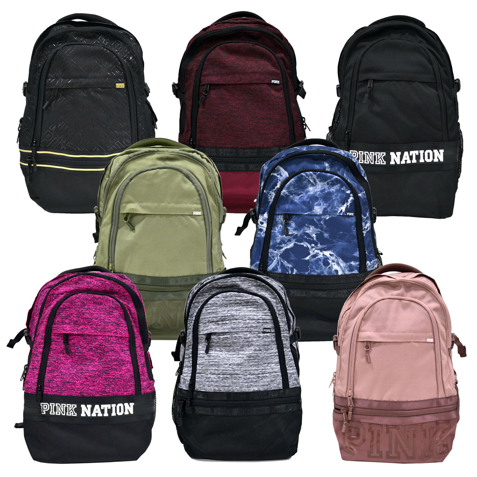 Victoria s Secret Pink Collegiate Backpack Bookbag School Bag Zip Pockets  Vs New фото e3f7f20a5c236