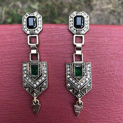 Art Deco Long Geometric Earrings Rhinestones Vintage Inspired Art Deco Rhinestone Earrings