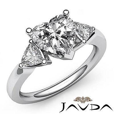 Trillion 3 Stone 4 Prong Setting Heart Diamond Engagement Ring GIA I SI1 1.55 Ct