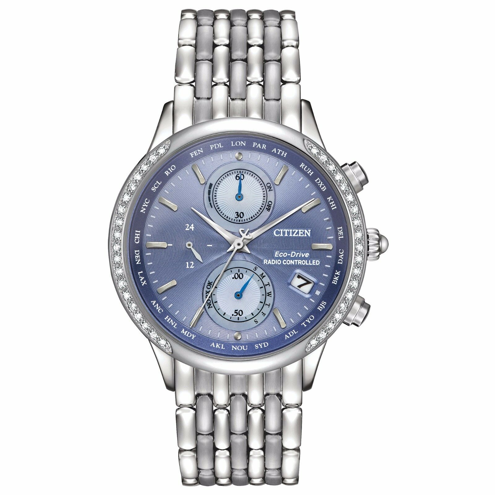 $179.99 - Citizen Eco-Drive A-T Women's FC5000-51L Chronograph Blue Dial 38mm Watch