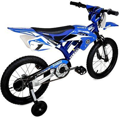 Child 16'' Yamaha Moto Bike BMX Kids Bicycle Motocross Style Motobike Bikes Blue