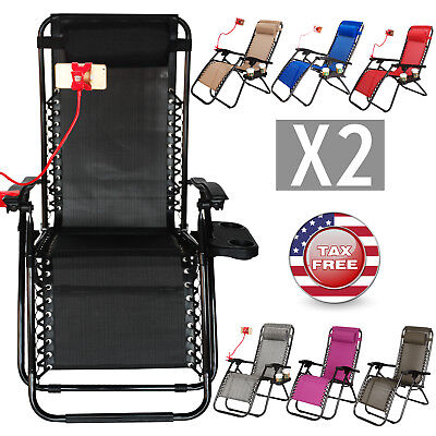2 Zero Gravity Folding Lounge Chairs W Drink Holder Beach Patio Outdoor Recliner