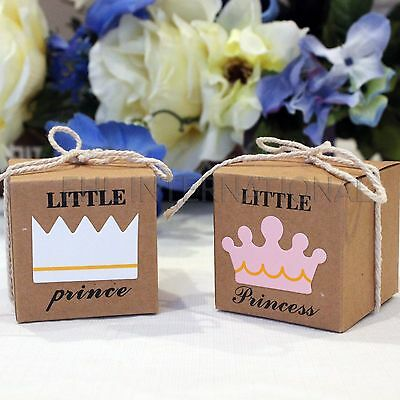 Kraft Paper Baby Shower Little Prince Or Princess Baptism Party Favor Boxes 25pc