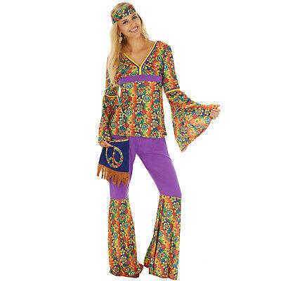 Disco Hippie Blumen Kostüm Frauen Karneval Fasching Halloween 70er inkl. (Frau Hippie Kostüme)