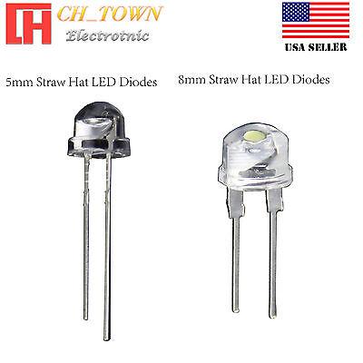 5 8 mm Straw Hat Warm White Red Blue Green Orange Light LED Diodes Lamp -