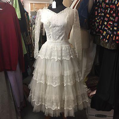 Vintage 1950s White Lace Wedding Dress Tea Ballerina Length Gorgeous Skirt