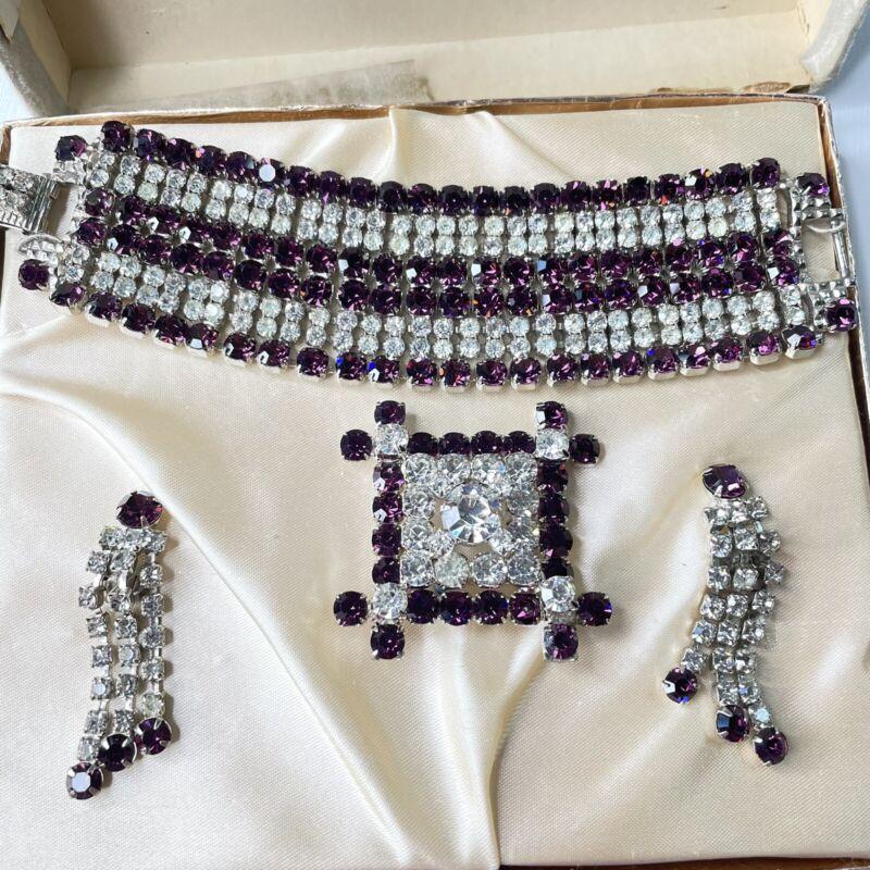Vtg Purple Amethyst Costume Parure Smart Set Fifth Ave Brooch Bracelet Earrings