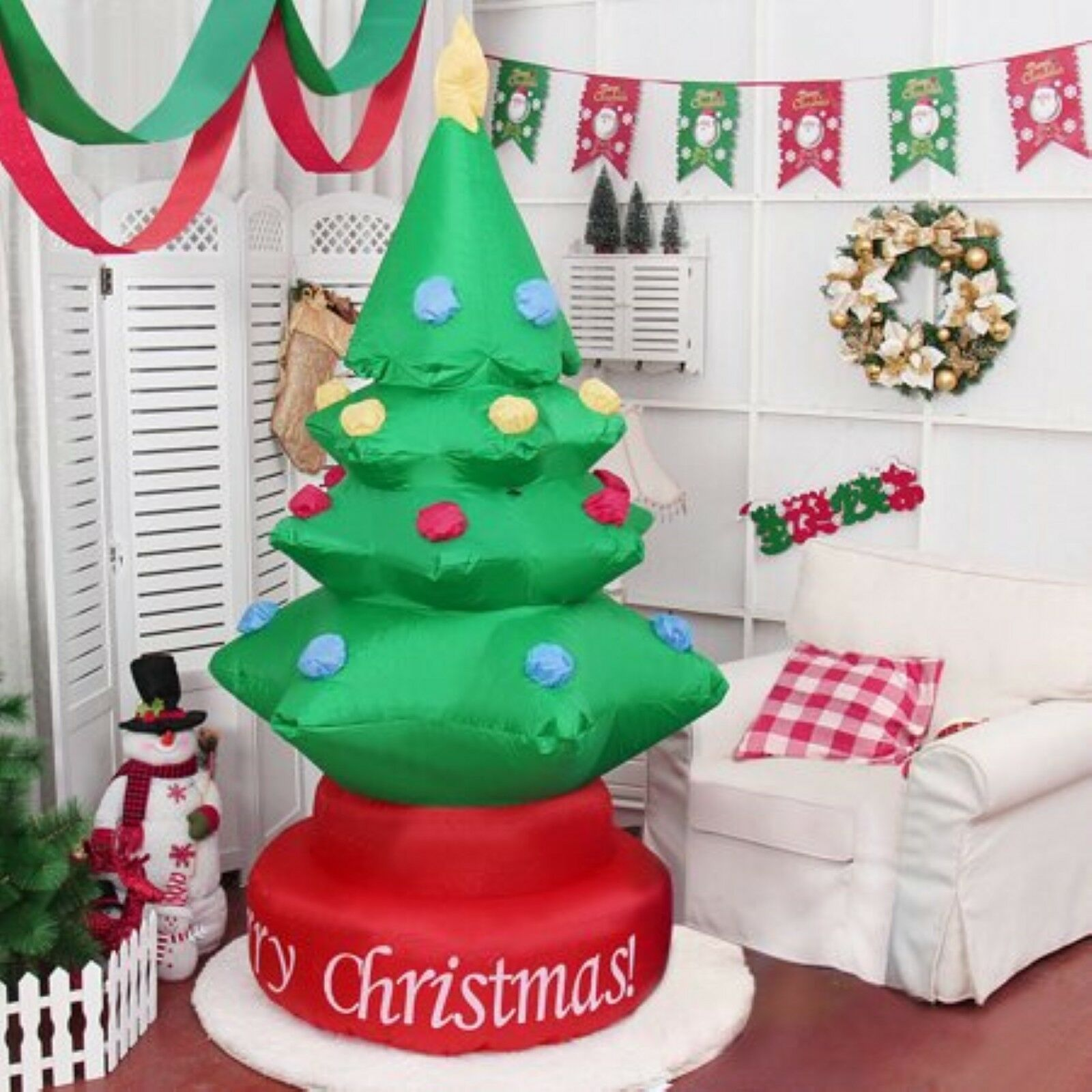 Gymax 7Ft Rotary Inflatable Christmas Tree Outdoor Holiday Home Yard Decoration Blower