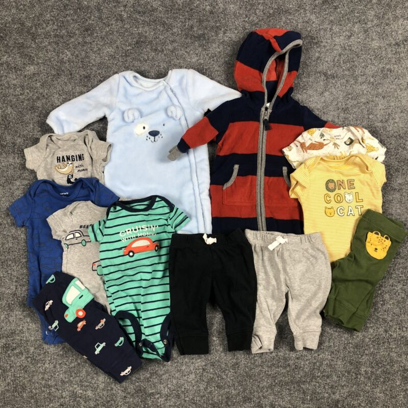 Assorted Baby Clothing 3 Month Boys Carter's & Absorba Pants Bodysuits Lot Of 12