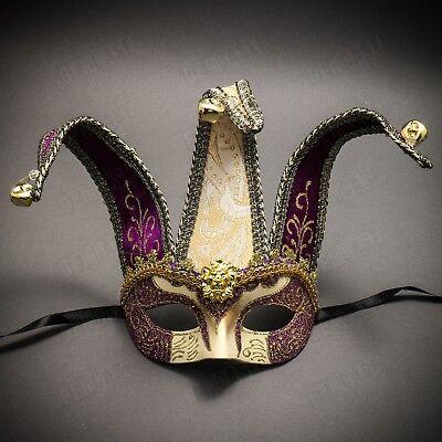 NEW Mardi Gras Venetian Masquerade Jester Costume Carnival Mask Gold Purple](Purple Mardi Gras Mask)