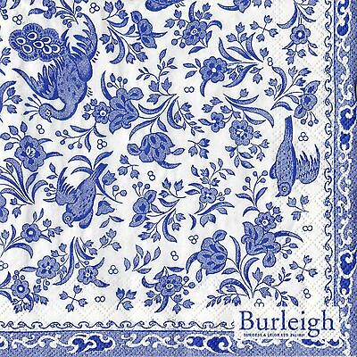20 Paper Napkins Blue & White China Burleigh Regal Peacock Blue