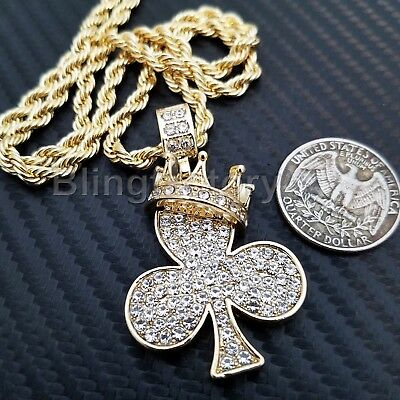 "Hip Hop Iced out Lab Diamond Crown Clover Pendant & 4mm 24"" Rope Chain Necklace"