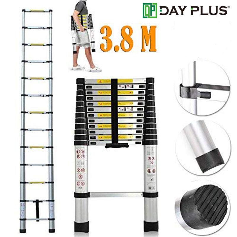 12.5FT 3.8M Aluminum Telescoping Telescopic Extension Ladder 330lbs Capacity