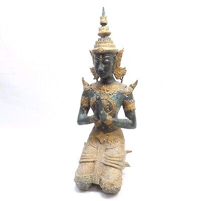 Buddhist Statue Figure Antique Namaste Thailand Thai God Figure 13""
