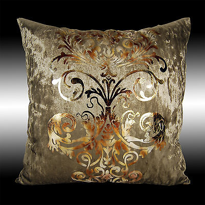 LUXURY SHINY BRONZE GOLD DAMASK DECO VELVET CUSHION COVER THROW PILLOW CASE 17