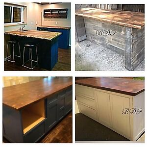 Solid reclaimed wood kitchen bar island or bathroom for Kitchen cabinets barrie
