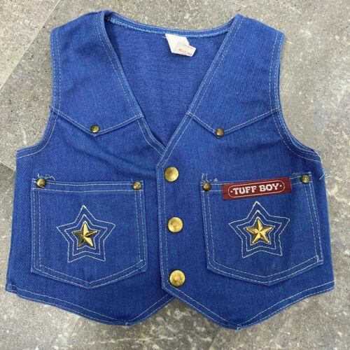Vintage Toddler Denim Vest Western Tuff Boy Blue Stars Snaps 3T
