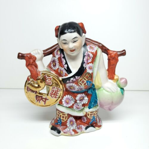 Vintage Porcelain Lucky Wealth Woman Coin Peach Handpainted Figurine 6.5 Inch