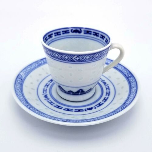Chinese Rice Eye Pattern Vintage Porcelain Tea Cup & Saucer with Flower