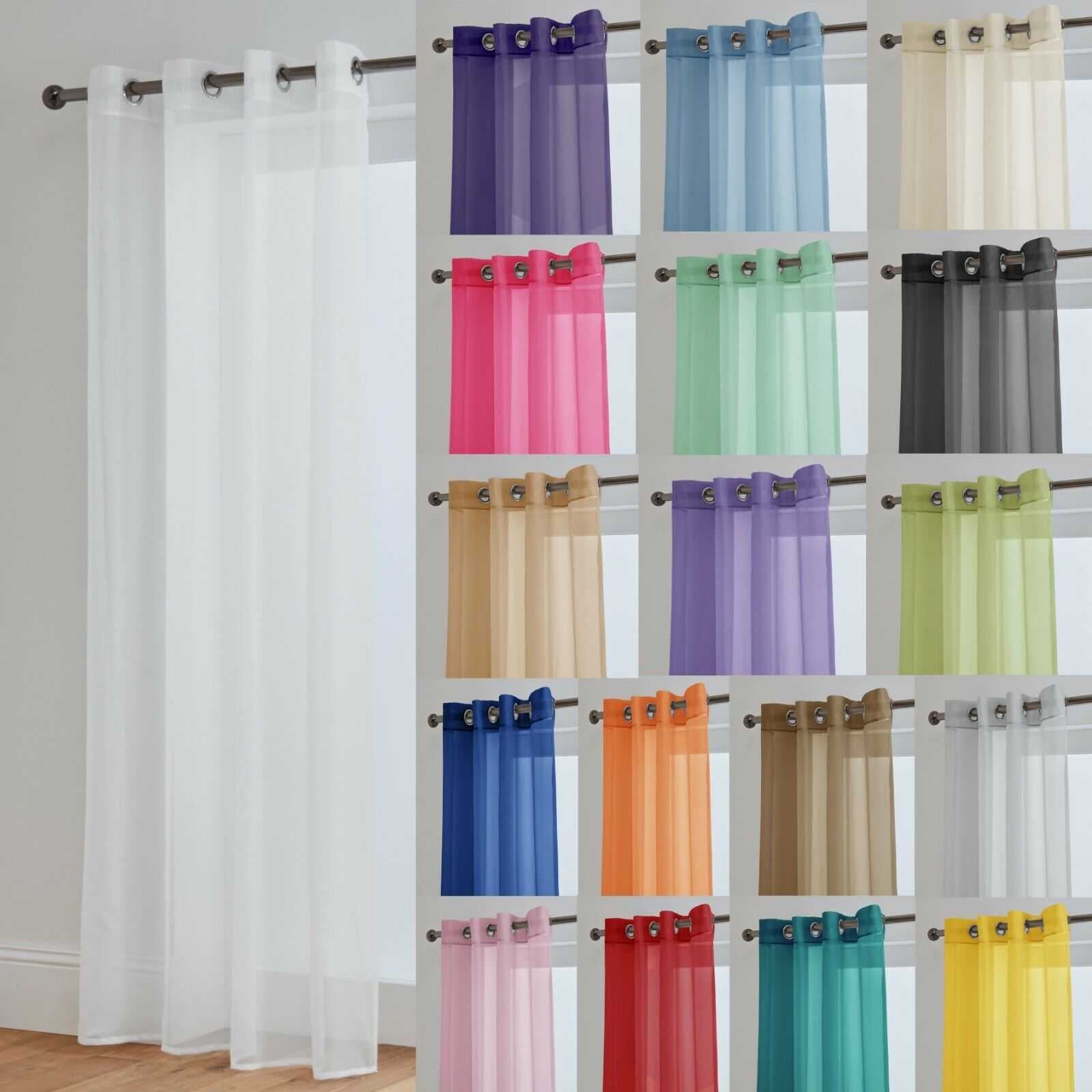 curtains - Voile Curtains With Eyelet Ring Top Heading - Net Voile Curtain - Lucy Panel