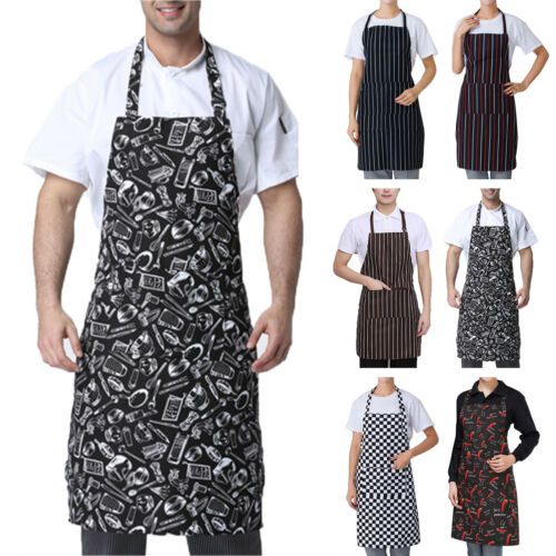 Herren Damen Schürze Kochschürze Latzschürze Grillschürze Tasche Küchenschürze