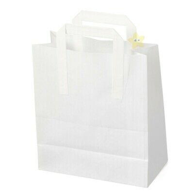 500 SMALL WHITE KRAFT SOS TAKEAWAY PAPER CARRIER BAGS