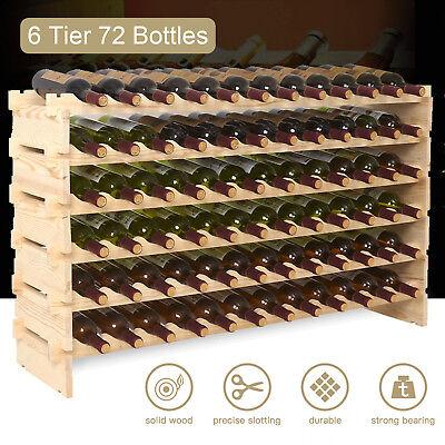 Display Wine Rack (72 Bottles Holder Wine Rack Stackable Storage 6 Tier Solid Wood Display)