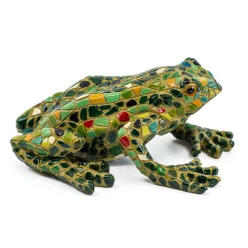 "Multicolored Painted Mosaic Frog Figurine 5.25"" Long Resin Statue New!"