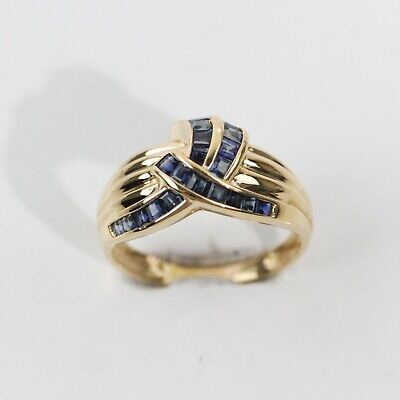 ALLURING 14k YELLOW GOLD GROOVED BLUE SAPPHIRE RIBBON CLUSTER RING size 7.25 14k Gold Ribbon Ring