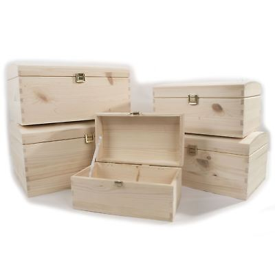- Selection of Treasure Chest Memo Storage Boxes / Unpainted Pine / Various Sizes