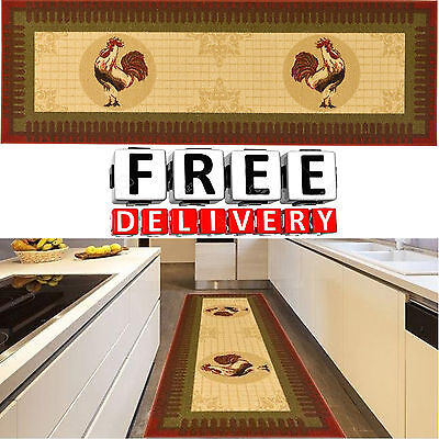 Rooster Rug Runner Kitchen Long Chicken Washable Non Slip Floor Hall Antique - Rooster Mat