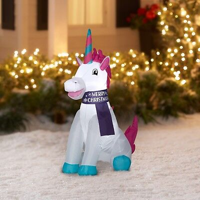 3.5 Ft. Inflatable Unicorn Christmas Holiday Yard Decoration Outdoor Lawn Decor