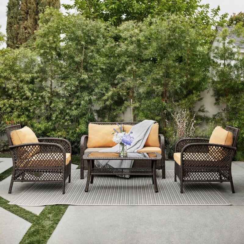 4PCS Rattan Wicker Patio Sofa Deep Cushion Seat Set Furniture Lawn Outdoor Brown