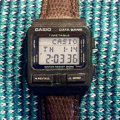 Vintage Casio DBT-70W Timetable Data Bank Train (1987) Digital Mens Watch RUNS