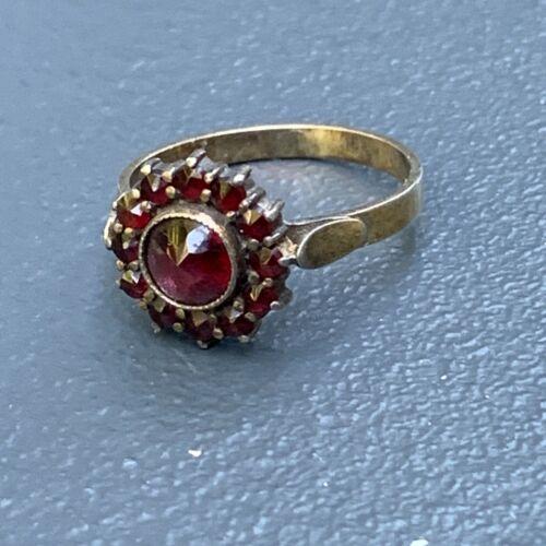 Antique Art Deco Garnet Gold Gilt 800 Silver Rose-Cut Bohemian Ring