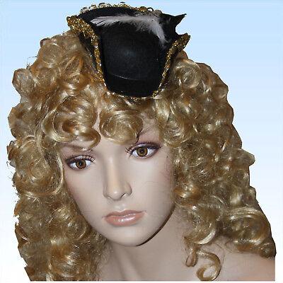 Mini Piratenhut mit Haarreif und Federn Hut f. Kostüm Pirat Piratin - Piraten Kostüm Mini Hut