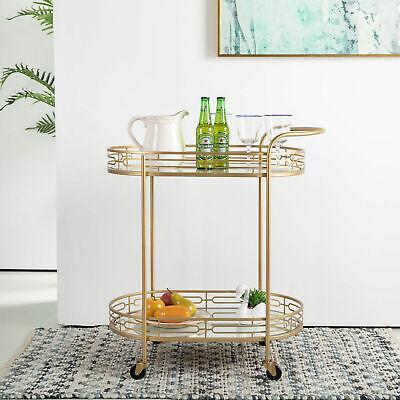 Glitzhome Metal Rolling Kitchen Utility Serving Bar Cart Mirror Shelves Trolley