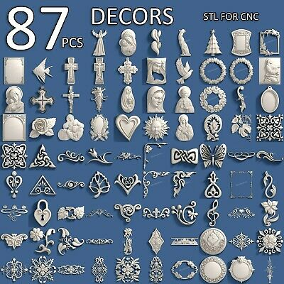 3d Stl Model Cnc Router Artcam Aspire 87 Pcs Decor Collection Pack