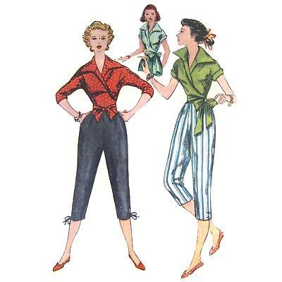 Vtg 50s Simplicity 4255 Misses Wrap Around Blouse Pedal Pushers Capri Pants 12 -
