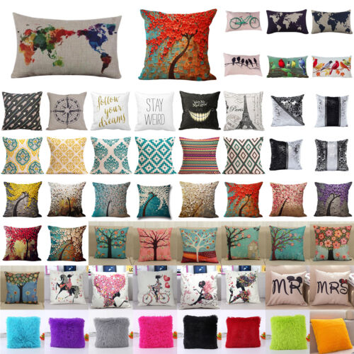 Floral Cotton Linen Throw Waist Pillow Case Cushion Cover Fl