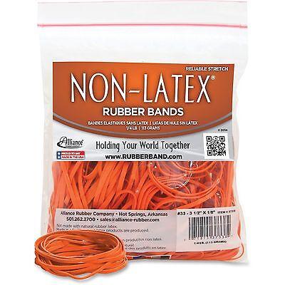 "Alliance Rubber Bands Latex-free 3-1/2""x1/8"" No.33 Orange 40/BG 37338"