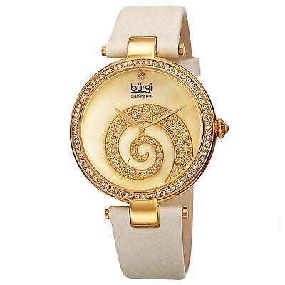 Women's Burgi BUR143IV Mother of Pearl Diamond Dial Swirled Crystal Pave Watch