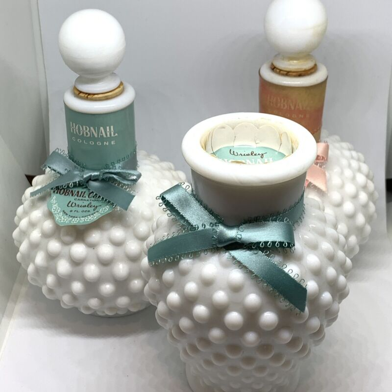 Lot Of 3 Hobnail Milk Glass 2 Perfume Decanter, 1 Bubble Bath RARE