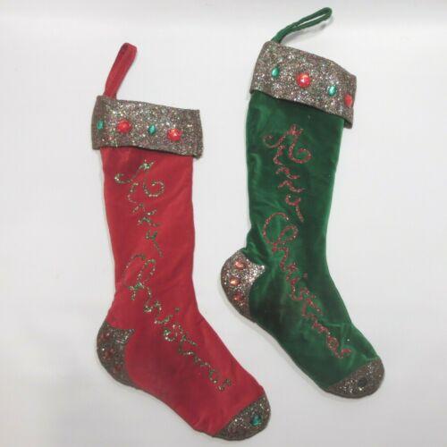 Vtg Velvet Christmas Stockings Glitter Jeweled Decoration