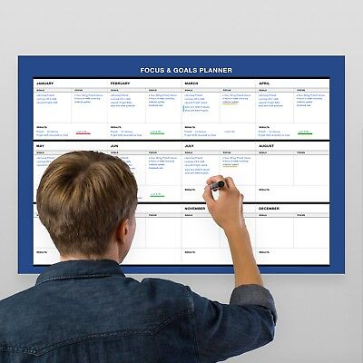 28 Erasable Wall (Erasable Wall Goals-Focus-Results Planner // 17-Inch-by -28-Inch - Blue )