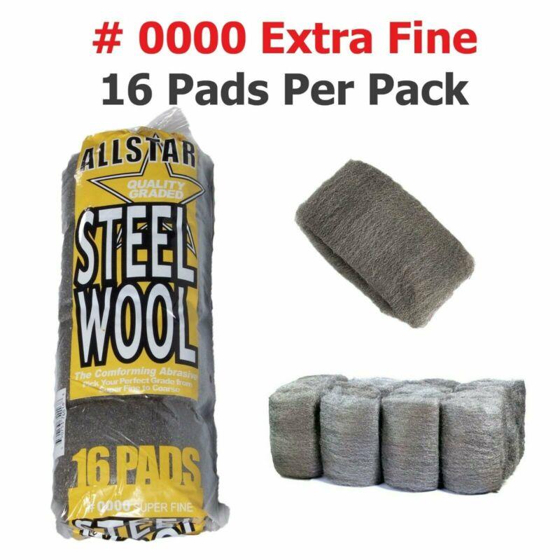 Steel Wool 16 pad | All Star High-Quality Super Fine Grade #0000 | Final Finish