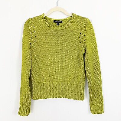 Banana Republic Metallic Green Cropped Sweater Size Medium Thick Long Sleeves Cropped Long Sleeve Sweater