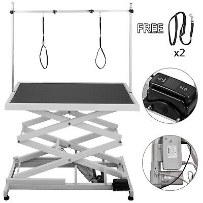 Electric Lifting White Pet Dog Grooming Table Heavy Duty Height Adjustable