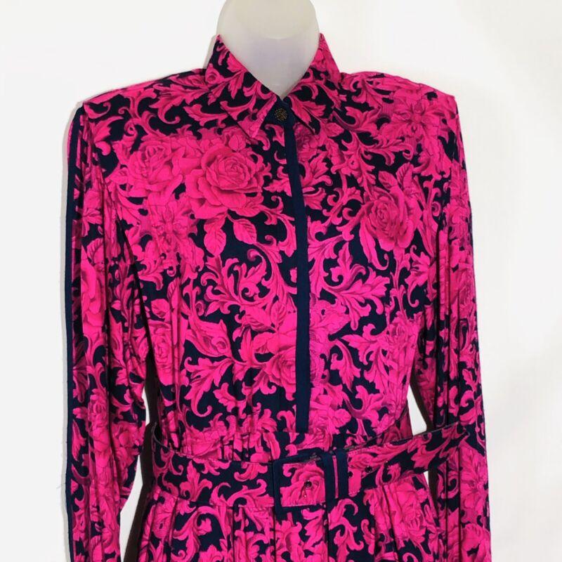 Vtg California Designs Dress Pink Blue Floral Print Buttons Belt Long Sleeve 90s